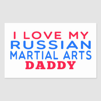 I Love My Russian Martial Arts Daddy Rectangle Stickers