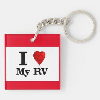 I Love My RV Double-Sided Square Acrylic Key Ring