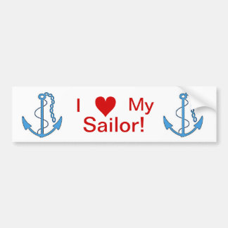 I love My Sailor Anchors Bumper Sticker
