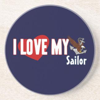 I Love My Sailor Beverage Coaster