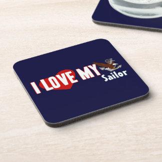 I Love My Sailor Beverage Coasters