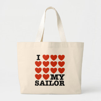 I Love My Sailor Large Tote Bag