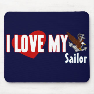 I Love My Sailor Mouse Pad