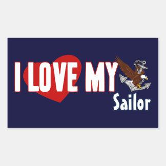 I Love My Sailor Rectangular Sticker
