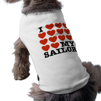 I Love My Sailor Sleeveless Dog Shirt