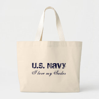 I love my Sailor, U.S. Navy Jumbo Tote Bag
