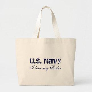 I love my Sailor, U.S. Navy Large Tote Bag