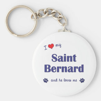 I Love My Saint Bernard (Male Dog) Basic Round Button Key Ring