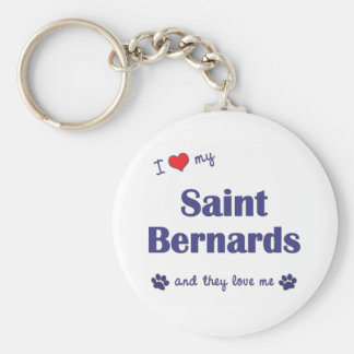I Love My Saint Bernards (Multiple Dogs) Basic Round Button Key Ring