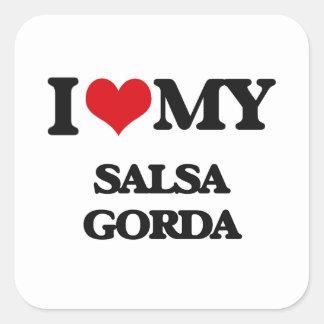 I Love My SALSA GORDA Square Sticker