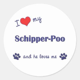 I Love My Schipper-Poo (Male Dog) Round Sticker