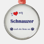 I Love My Schnauzer (Female Dog) Christmas Ornament