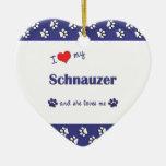 I Love My Schnauzer (Female Dog) Ornaments
