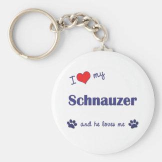 I Love My Schnauzer (Male Dog) Key Ring