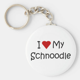 I Love My Schnoodle Dog Breed Lover Gifts Key Ring
