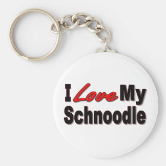 I Love My Schnoodle Dog Keychain