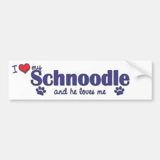 I Love My Schnoodle (Male Dog) Bumper Stickers