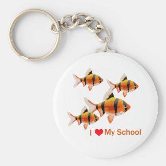 I Love My School Basic Round Button Key Ring