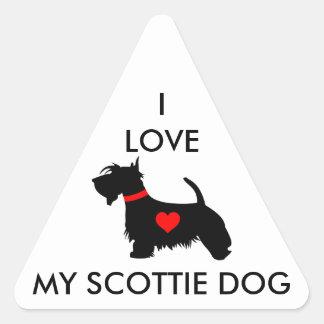 I love my scottie dog triangular stickers