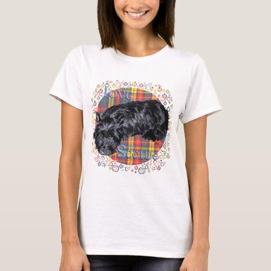 I Love My Scottie on Plaid T-Shirt