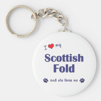 I Love My Scottish Fold (Female Cat) Basic Round Button Key Ring