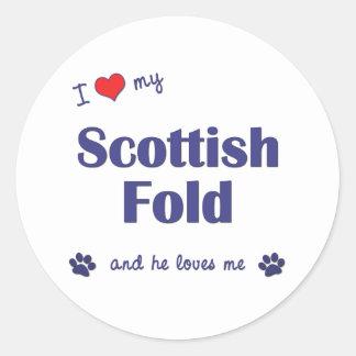 I Love My Scottish Fold (Male Cat) Round Sticker