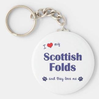 I Love My Scottish Folds (Multiple Cats) Basic Round Button Key Ring