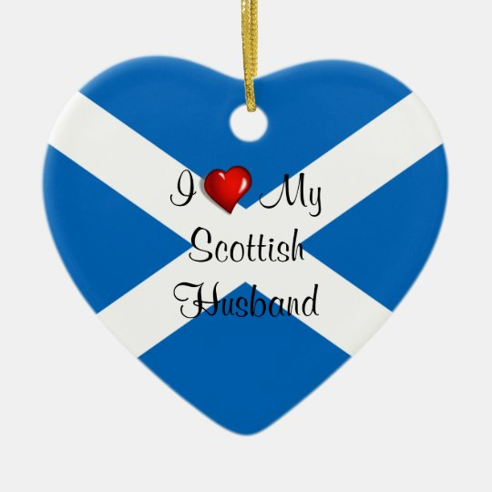 I Love My Scottish Husband Christmas Ornament