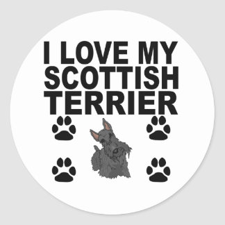 I Love My Scottish Terrier Classic Round Sticker