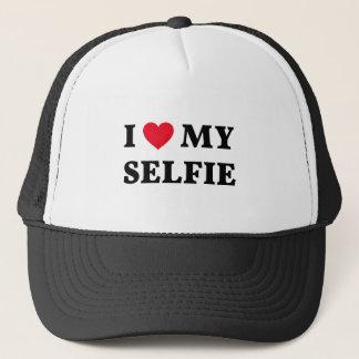 I love my selfie, word art, text design trucker hat