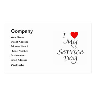 I Love My Service Dog Pack Of Standard Business Cards