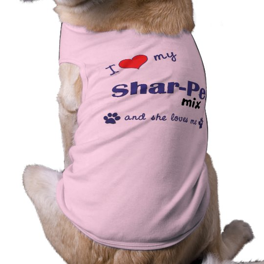 I Love My Shar-Pei Mix (Female Dog) Sleeveless Dog Shirt