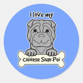 I Love My Shar-Pei Classic Round Sticker