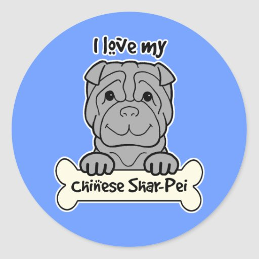 I Love My Shar-Pei Round Stickers