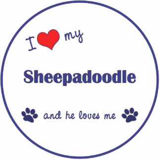 I Love My Sheepadoodle (Male Dog) Photo Sculpture Decoration