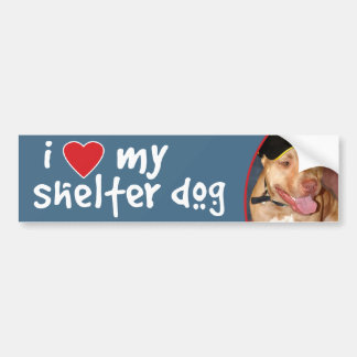I Love My Shelter Dog Pitbull Car Bumper Sticker