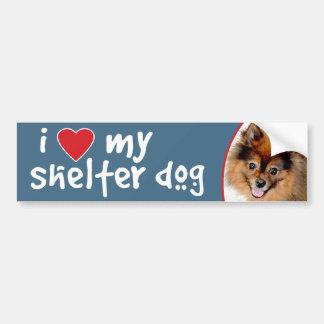I Love My Shelter Dog Pomeranian Bumper Stickers