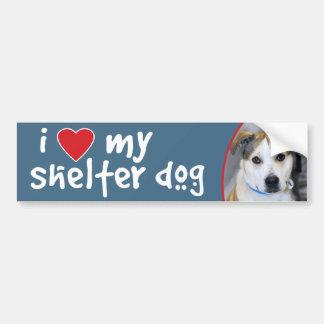 I Love My Shelter Dog Yellow Lab-Pitbull Bumper Sticker