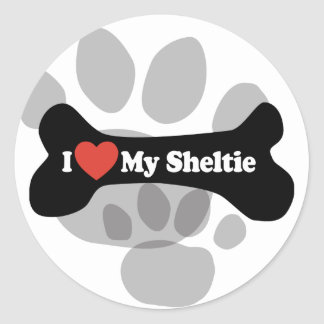 I Love My Sheltie - Dog Bone Classic Round Sticker