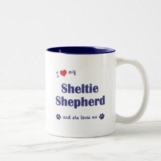 I Love My Sheltie Shepherd (Female Dog) Two-Tone Coffee Mug