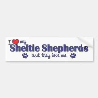 I Love My Sheltie Shepherds (Multiple Dogs) Bumper Sticker