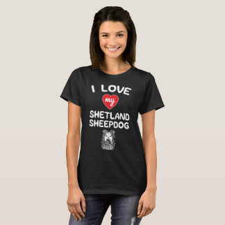 I love my Shetland Sheepdog Face Graphic Art T-Shirt