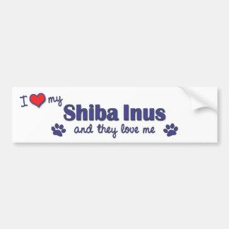 I Love My Shiba Inus (Multiple Dogs) Bumper Sticker