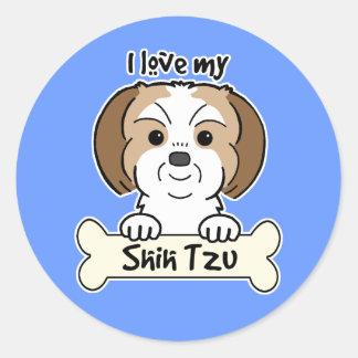 I Love My Shih Tzu Classic Round Sticker