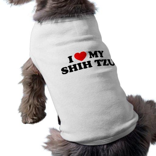 I Love my Shih Tzu Doggie Ribbed Tank Top Doggie T-shirt