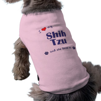 I Love My Shih Tzu (Female Dog) Sleeveless Dog Shirt