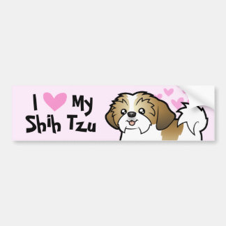 I Love My Shih Tzu (puppy cut) Bumper Sticker