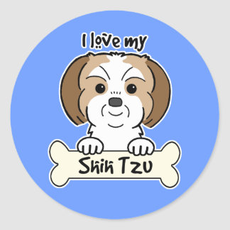I Love My Shih Tzu Round Sticker