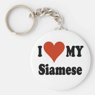 I Love My Siamese Cat Merchandise Basic Round Button Key Ring
