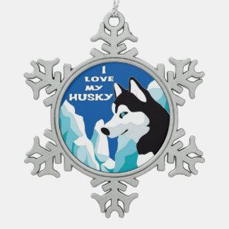 I Love my Siberian Husky Snowflake Pewter Christmas Ornament